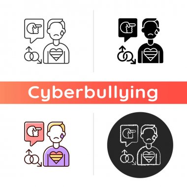 LGBT cyberbullying icon. Transphobic and homophobic offensive comments. Online harassment. Gay, transgender discrimination. Linear black and RGB color styles. Isolated vector illustrations icon