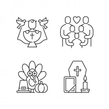 Family tradition and special occasions linear icons set. Christening ceremony, baby baptism. Customizable thin line contour symbols. Isolated vector outline illustrations. Editable stroke icon