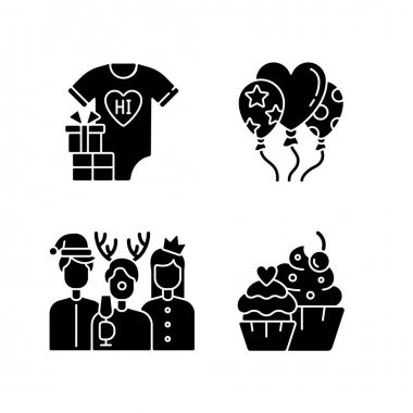 Family birthday celebration black glyph icons set on white space. Baby shower. Balloons for decoration. Christmas party with coworkers and friends. Silhouette symbols. Vector isolated illustration icon