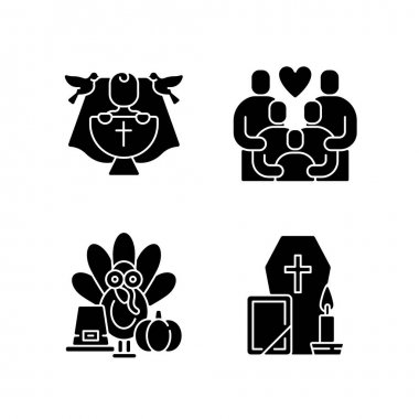 Family tradition and special occasions black glyph icons set on white space. Christening ceremony, baby baptism. Thanksgiving party. Funeral service. Silhouette symbols. Vector isolated illustration icon