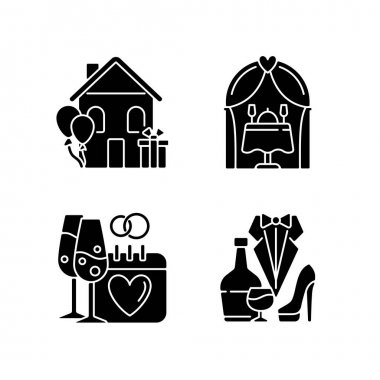 Family celebration black glyph icons set on white space. Housewarming party. Engagement date. Romantic dinner. Wedding reception. Marriage celebration. Silhouette symbols. Vector isolated illustration icon