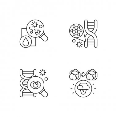 Microbiology linear icons set. Genetic engineering. DNA structure. Selective breeding. Genetic research. Customizable thin line contour symbols. Isolated vector outline illustrations. Editable stroke icon