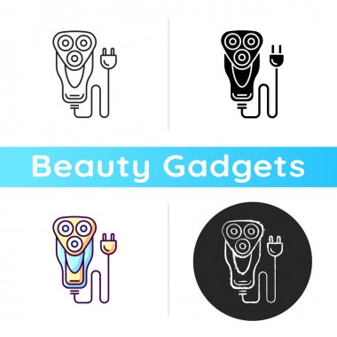 Electric shaver icon. Trimmer. Dry razor. Trimming stubble. Reducing skin irritation, cuts, ingrown hairs. Sensitive skin protection. Linear black and RGB color styles. Isolated vector illustrations icon