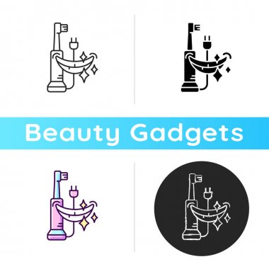 Electric toothbrush icon. Removing plaque buildup. Dental hygiene. Cleaning teeth and gums. Bristles vibration and rotation. Linear black and RGB color styles. Isolated vector illustrations icon