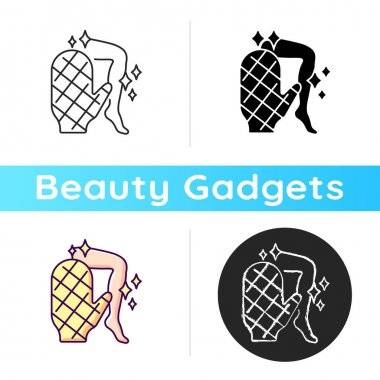 Body scrubber icon. Smooth, clear skin. Deep cleansing. Sponge and body brush. Removing dirt and grime. Skincare tool. Linear black and RGB color styles. Isolated vector illustrations icon