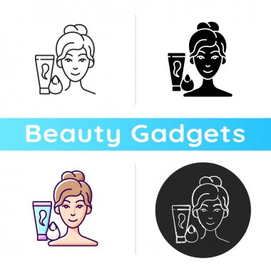 Makeup sponge icon. Foundation, concealer, beauty balms applying. Teardrop-shaped sponge. Achieving sheer makeup application. Linear black and RGB color styles. Isolated vector illustrations icon