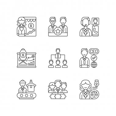 Corporate hierarchy linear icons set. Sales department. Executive staff. Customer service. Customizable thin line contour symbols. Isolated vector outline illustrations. Editable stroke icon