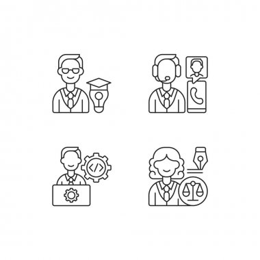 Management structure linear icons set. Educational management. Customer service and support. Customizable thin line contour symbols. Isolated vector outline illustrations. Editable stroke icon