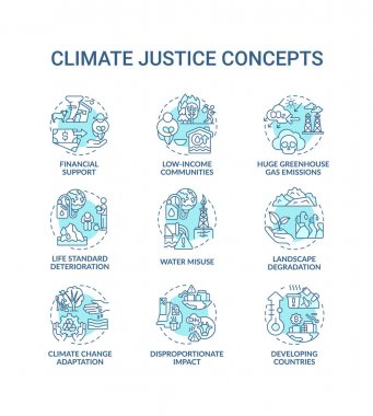 Climate justice concept icons set. Global warming reduce idea thin line RGB color illustrations. Global warming. Climate change. Vector isolated outline drawings. Editable stroke icon