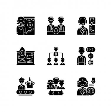 Corporate hierarchy black glyph icons set on white space. Sales department. Executive staff. Customer service. Traditional company structure. Silhouette symbols. Vector isolated illustration icon