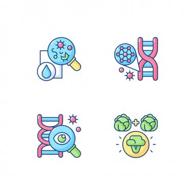 Microbiology RGB color icons set. Genetic engineering. DNA structure. Selective breeding. Genetic research. Biotechnology experiment. Laboratory research. Isolated vector illustrations icon
