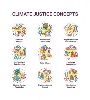 Climate justice concept icons set. Environmental protection idea thin line RGB color illustrations. Global warming. Climate change. Vector isolated outline drawings. Editable stroke icon
