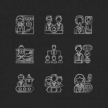 Corporate hierarchy chalk white icons set on black background. Sales department. Executive staff. Customer service. Traditional company structure. Isolated vector chalkboard illustrations icon