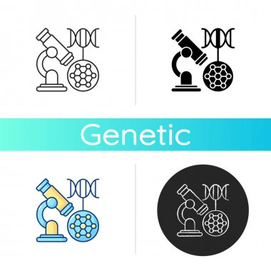 DNA microarray icon. Microscopic analysis. Nano organism sample. Genetic engineering. Biotechnology experiment. Scientific examination. Linear black and RGB color styles. Isolated vector illustrations icon