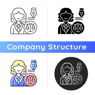 Law department icon. Dealing with legal affairs. Ensuring company legality and compliance actions. Litigation, investigation. Linear black and RGB color styles. Isolated vector illustrations icon