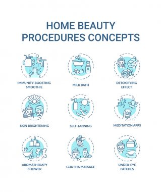 Home beauty procedures concept icons set. At-home spa activities idea thin line RGB color illustrations. Gua sha massage. Aromatherapy shower. Vector isolated outline drawings. Editable stroke icon