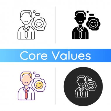 Positive attitude icon. Optimistic employee. Personal achievement. Core corporate values. Job motivation. Company culture. Linear black and RGB color styles. Isolated vector illustrations icon