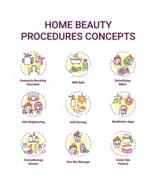 Home beauty procedures concept icons set. At-home spa activities idea thin line RGB color illustrations. Immunity-boosting smoothie. Skin brightening. Vector isolated outline drawings. Editable stroke icon