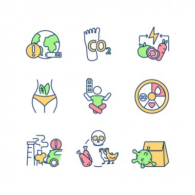 Environmental damage prevention RGB color icons set. Sustainable development. Animal cruelty. Healthy vegan diet. Carbon footprint. CO2 emission. Ecology, ecosystem. Isolated vector illustrations icon