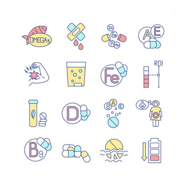 Vitamin supplements RGB color icons set. Multivitamin, multimineral pharmaceutical intake. Health care. Dietary and nutritionology. Vitamin, mineral deficiency symptom. Isolated vector illustrations icon