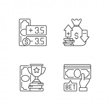 Gambling linear icons set. Point spread. Moneyline. Betting on sport events. Handicap betting. Customizable thin line contour symbols. Isolated vector outline illustrations. Editable stroke icon