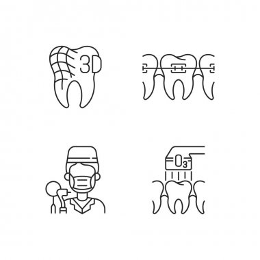 Dentistry practice linear icons set. Orthodontics care methods. Digital dentistry Customizable thin line contour symbols. Isolated vector outline illustrations. Editable stroke icon