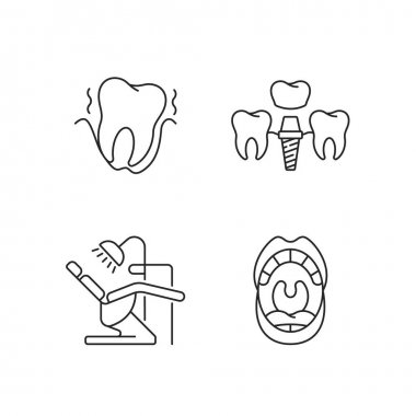 Diseases of the oral cavity linear icons set. Instruments for dental treatment. Dental care. Customizable thin line contour symbols. Isolated vector outline illustrations. Editable stroke icon