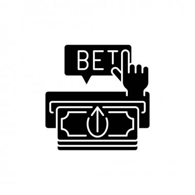 Making deposit black glyph icon. Cash transfer. Joining online gambling site. Payment method. Adding funds to account. Silhouette symbol on white space. Vector isolated illustration