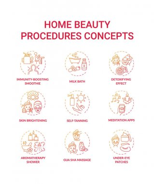 Home beauty procedures concept icons set. At-home spa activities idea thin line RGB color illustrations. Meditation apps. Under-eye patches. Skin brightening. Vector isolated outline drawings icon