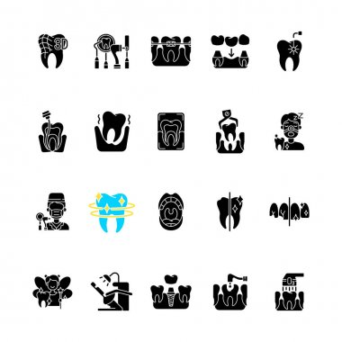 Professional stomatology black glyph icons set on white space. Dental procedures. Instruments for dental treatment. Caries treatment. Family orthodontics. Silhouette symbols. Vector isolated illustration icon