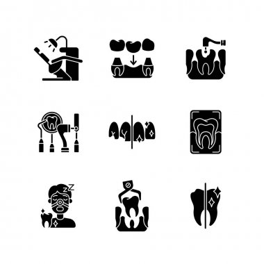 Dental procedures black glyph icons set on white space. Sleeping dentistry. Orthodontics practice. Professional dental surgery. Oral cavity. Silhouette symbols. Vector isolated illustration icon