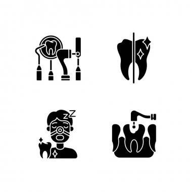 Dentistry method and practice black glyph icons set on white space. Stomatology tools. Tooth restoration and care. Sleeping dentistry. Silhouette symbols. Vector isolated illustration icon
