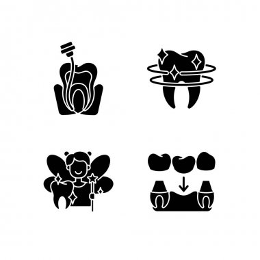 Dental Instruments black glyph icons set on white space. Dental care. Professional prevention of dental caries. Diseases of the oral cavity. Silhouette symbols. Vector isolated illustration icon
