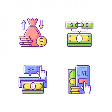 Bookmaking RGB color icons set. Over and under bet. Parlay. Making deposit. Live betting. Predicting wager. Moneylines. Adding funds to account. Increasing winnings. Isolated vector illustrations