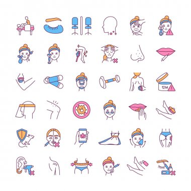 Building skin care routine RGB color icons set. Body massage. Cell regeneration. Skin exfoliator. Anti-aging procedure. Cellulite reducing. Personal protective equipment. Isolated vector illustrations icon