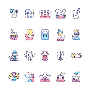 Professional stomatology RGB color icons set. Dental procedures. Instruments for dental treatment. Professional dental occupation. Caries treatment. Family orthodontics. Isolated vector illustrations icon
