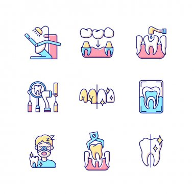 Dental procedures RGB color icons set. Sleeping dentistry. Orthodontics practice. Dental surgery. Professional stomatology occupation. Tooth recovery. Oral cavity. Isolated vector illustrations icon