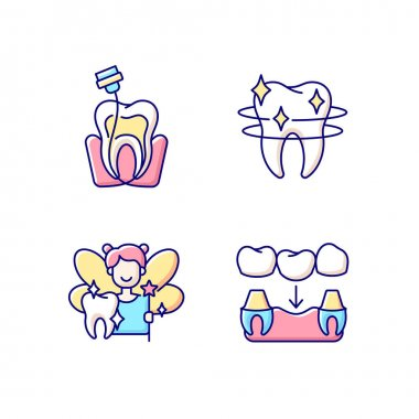 Dental Instruments RGB color icons set. Professional stomatology occupation. Teeth recovery. Dental care. Prevention of dental caries. Diseases of the oral cavity. Isolated vector illustrations icon