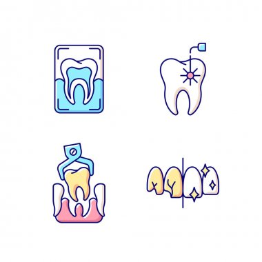 Dental practice RGB color icons set. Instruments for dental treatment. Dental x-ray. Professional stomatology occupation. Dentistry. Dental implants procedure. Isolated vector illustrations icon