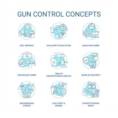 Gun control turquoise concept icons set. Self defense. Safety education. Concealed carry. Firearm regulation idea thin line RGB color illustrations. Vector isolated outline drawings. Editable stroke icon