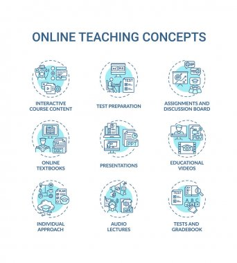 Online teaching concept icons set. Interactive course content. Online learning textbooks and materials idea thin line RGB color illustrations. Vector isolated outline drawings. Editable stroke icon