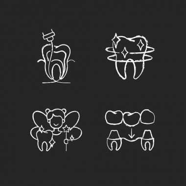 Dental Instruments white icons set on black background. Professional dental care. Prevention of dental caries. Diseases of the oral cavity. Isolated vector chalkboard illustrations icon