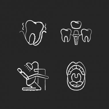 Diseases of the oral cavity chalk white icons set on black background. Special tools. Instruments for dental treatment. Professional dental care. Isolated vector chalkboard illustrations icon