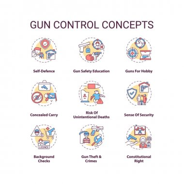 Gun control concept icons set. Self defense. Safety education. Concealed carry. Firearm regulation idea thin line RGB color illustrations. Vector isolated outline drawings. Editable stroke icon