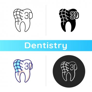 Digital dentistry icon. Dental health idea. Tooth restoration procedure. Stomatology tooth procedures. Dentist practise. Linear black and RGB color styles. Isolated vector illustrations icon