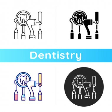 Dental equipment icon. Dental procedures. Instruments for dental treatment. Cosmetic dentistry. City family dentistry. Linear black and RGB color styles. Isolated vector illustrations icon