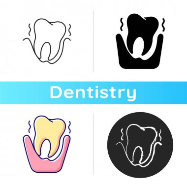 Periodontology icon. Tooth problems. City family dentistry. Gum disease. Dental surgery. Dental equipment. Linear black and RGB color styles. Isolated vector illustrations icon