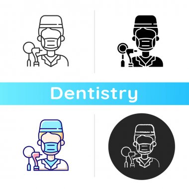 Dentist icon. Dental cavity care. Professional medical assistance. Elimination of toothache. Dentist appointment. Linear black and RGB color styles. Isolated vector illustrations icon