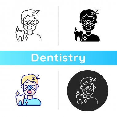 Sleeping dentistry icon. Stomatology sedation practice. Dental procedures. Instruments for dental treatment. Linear black and RGB color styles. Isolated vector illustrations icon