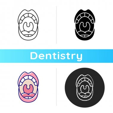 Oral cavity icon. Mouth examining dental inspection. Anatomy of oral cavity. Cosmetic dentistry. Dental care concept. Linear black and RGB color styles. Isolated vector illustrations icon